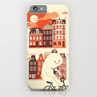 iPhone & iPod Case featuring Happy Ghost Biking Through Amsterdam by Marco Angeles