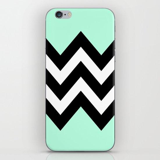 DOUBLE COLORBLOCK CHEVRON {MINT/BLACK} iPhone & iPod Skin