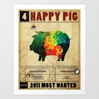 Happy Pig Art Print