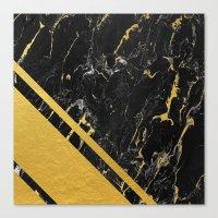 Gold Corner Black Marble Canvas Print