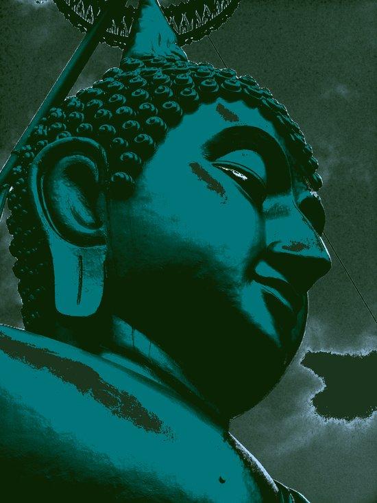 Buddah Head 03; Blue Art Print