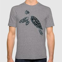 Calligram Sea Turtle Mens Fitted Tee Athletic Grey SMALL