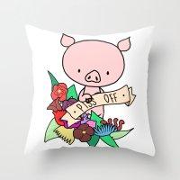 Piggy, PISS OFF! Throw Pillow