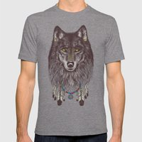 Wind Catcher Wolf Mens Fitted Tee Tri-Grey SMALL