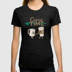 Coffee Time! Womens Fitted Tee Tri-Black SMALL