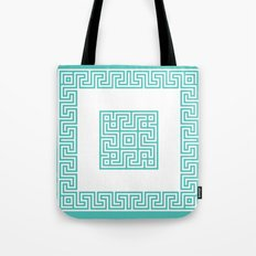 Greek Key turquoise Tote Bag