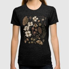 Nature Walks (Light Background) Womens Fitted Tee Tri-Black SMALL
