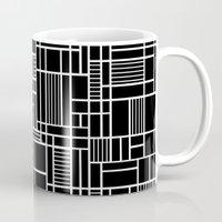 Map Lines Black Mug