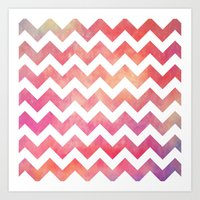 Watercolor Chevron. Art Print