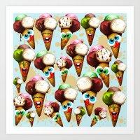 Ice Cream Cones Cartoon Pattern Art Print