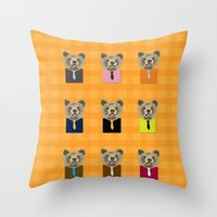Little bear with tie Throw Pillow