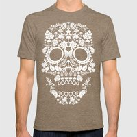 Day Of The Dead Skull Mens Fitted Tee Tri-Coffee SMALL