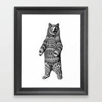 Ornate Grizzly Bear Framed Art Print