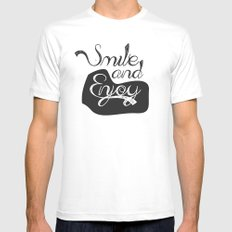 Smile and Enjoy SMALL White Mens Fitted Tee