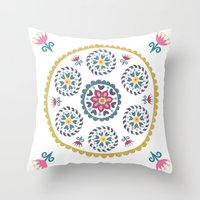 Suzani inspired floral blue 3 Throw Pillow