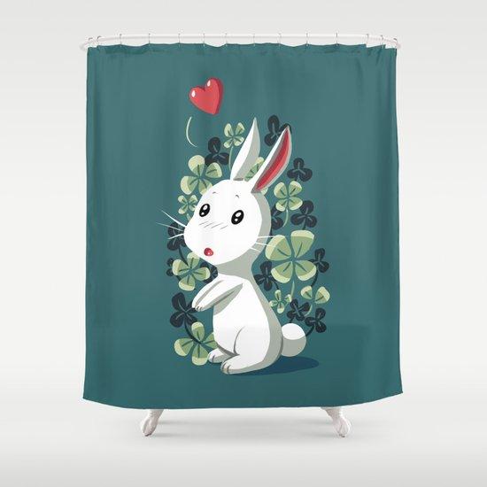 Clover Bunny Shower Curtain