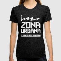 Zona Urbana Radio Womens Fitted Tee Tri-Black SMALL