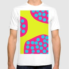 Green Purple Dots Mens Fitted Tee White SMALL