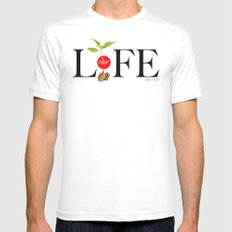 One Life SMALL White Mens Fitted Tee