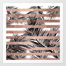 Trendy tropical palm trees chic rose gold stripes Art Print