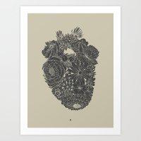 Responding Heart - Black & Tan Vintage Print Art Print
