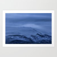 Winter magic blue mountain Art Print