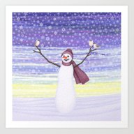 Snowman With Tufted Titm… Art Print