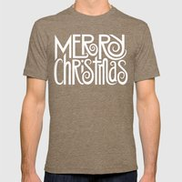 Merry Christmas Text White Mens Fitted Tee Tri-Coffee SMALL