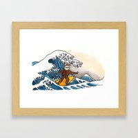Sloth riding the Great Wave Framed Art Print