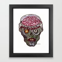 Heads of the Living Dead  Zombies: Remote Zombie Framed Art Print
