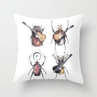 Meet The Beetles (white … Throw Pillow