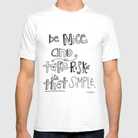 Nice + Risks = Happiness… Mens Fitted Tee White SMALL