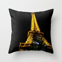 Eiffel Tower lit up at night, Paris Throw Pillow