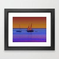 Boats At Sunrise Framed Art Print