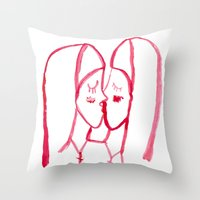 kissing nuns Throw Pillow