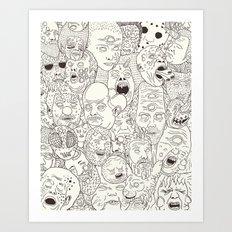 Faces of Math (no color edition)  Art Print