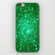 Emerald Green Glitter Stars iPhone & iPod Skin
