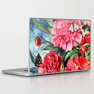 Laptop & iPad Skin featuring Watercolor Peonies by Anna Yudina