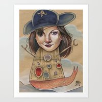 PIRATE ROBOT MERMAID Art Print