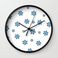 Snowflakes (Blue & Black on White) Wall Clock