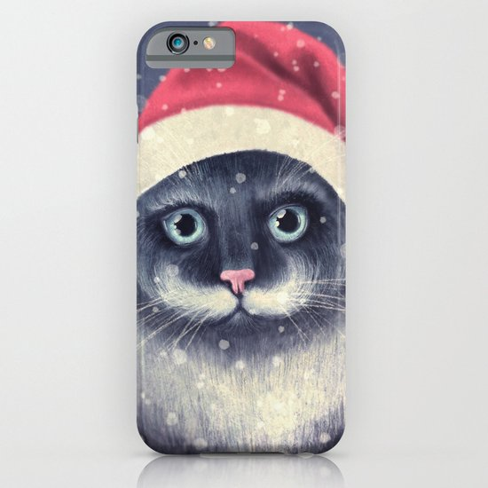 Christmas cat with a mustache iPhone & iPod Case