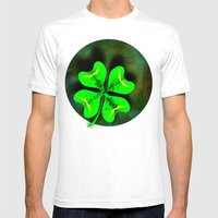 Four Leaf Clover On Gree… Mens Fitted Tee White SMALL
