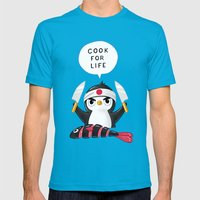 Penguin Chef Mens Fitted Tee Teal SMALL