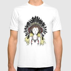 Native American Girl (colored) SMALL White Mens Fitted Tee