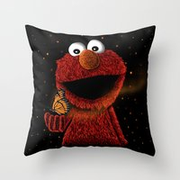 Elmo and Little Butterfly Throw Pillow