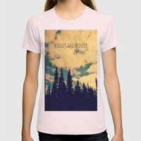 Wander and Wonder Womens Fitted Tee Light Pink SMALL