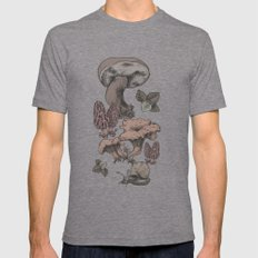 Mashrooms Pattern Mens Fitted Tee Tri-Grey SMALL
