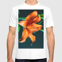 Lily Flower Dew Mens Fitted Tee White SMALL