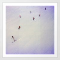 little skiers Art Print