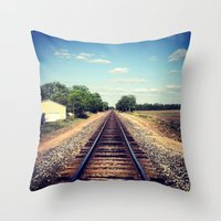 Throw Pillow featuring Railroad Tracks by Whitney Retter